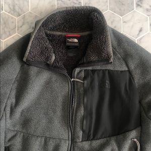 The north face long sleeve gray jacket